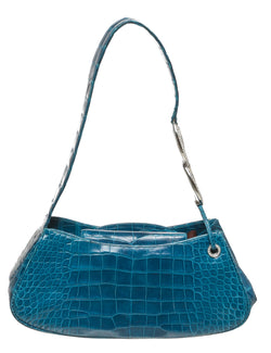 Judith Leiber Teal Crocodile Shoulder Handbag