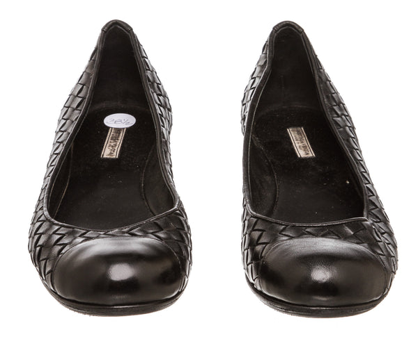 Bottega Veneta Black Intrecciato Leather Ballerina Flats (Size 38.5)