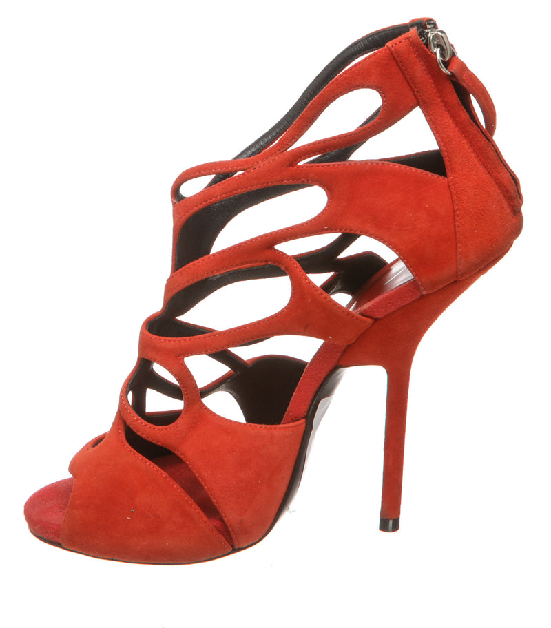 Giuseppe Zanotti Red Suede Caged High-Heel Sandal (Size 38.5)