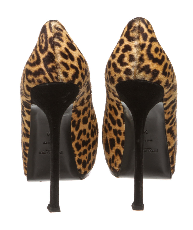 Yves Saint Laurent Brown Lepard Pony Hair Tribtoo Pumps (Size 39)