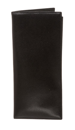 Valextra Black Grained Leather Travel Wallet