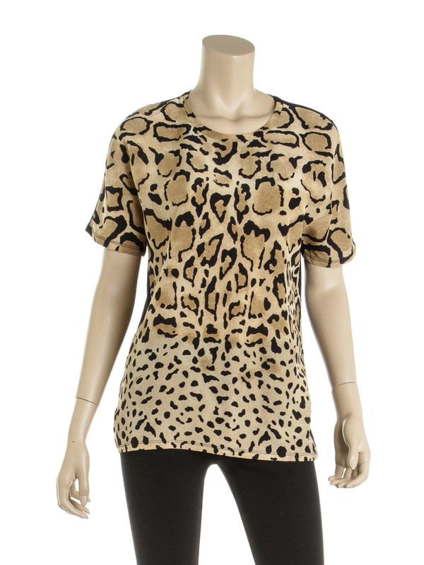 Gucci Tan and Black Silk Animal Print Blouse (Size M)