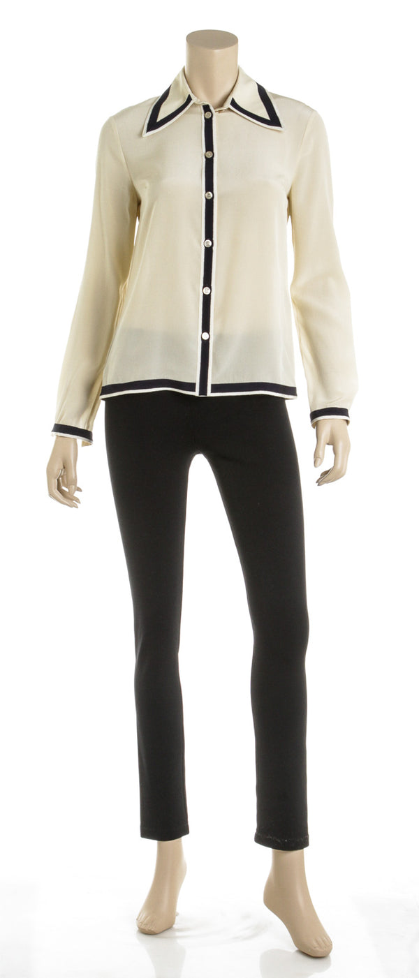 Gucci Cream Silk Blouse with Cream and Navy Grosgrain Ribbon Trim (Size 38)