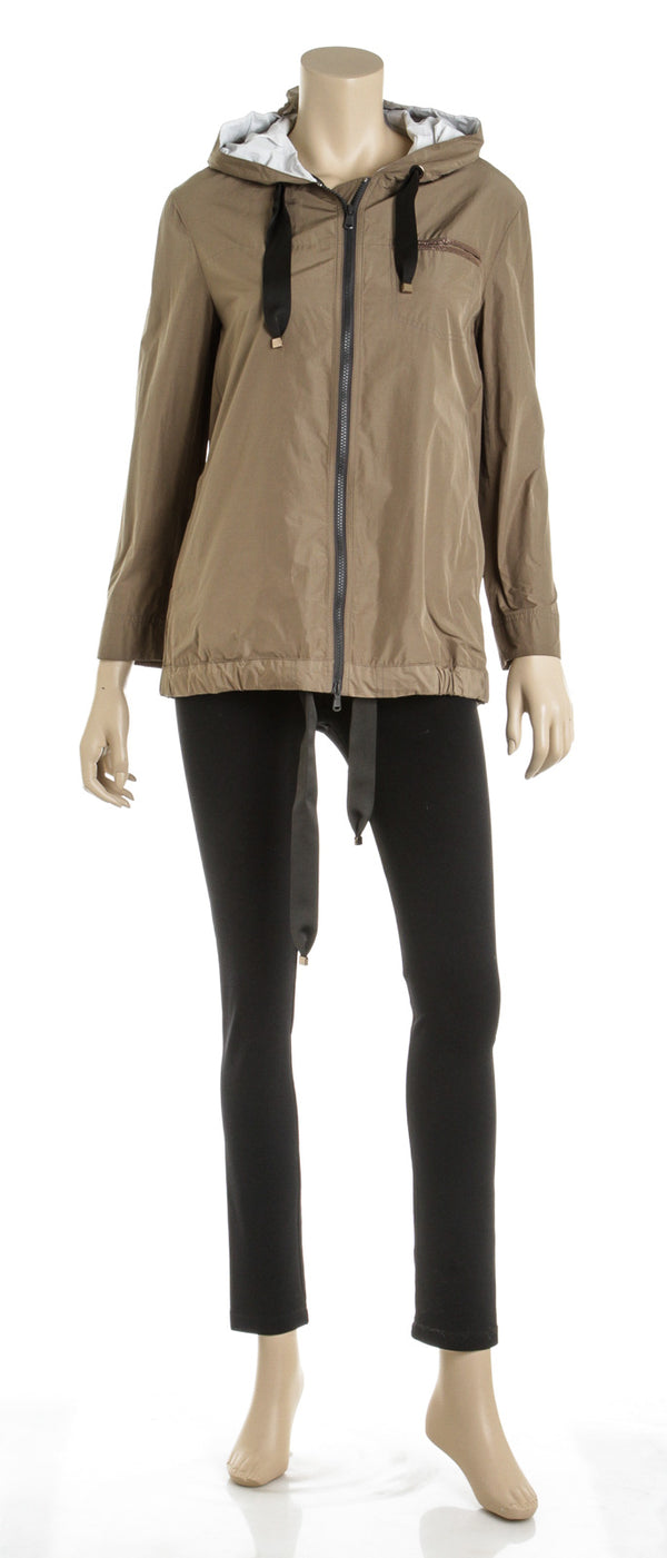 Brunello Cucinelli Tan, Cream and Khaki Windbreaker Jacket (Size 36)