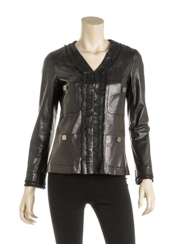 Chanel Black Calfskin Ruffle Front Jacket (Size 38)