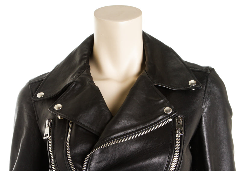 Gucci Black Leather Motorcycle Jacket with Silk Scarf Lining (Size 40)