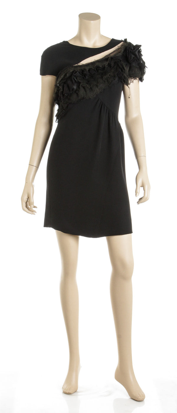 Chanel Couture Black Silk Crepe Cocktail Dress (Size 38)
