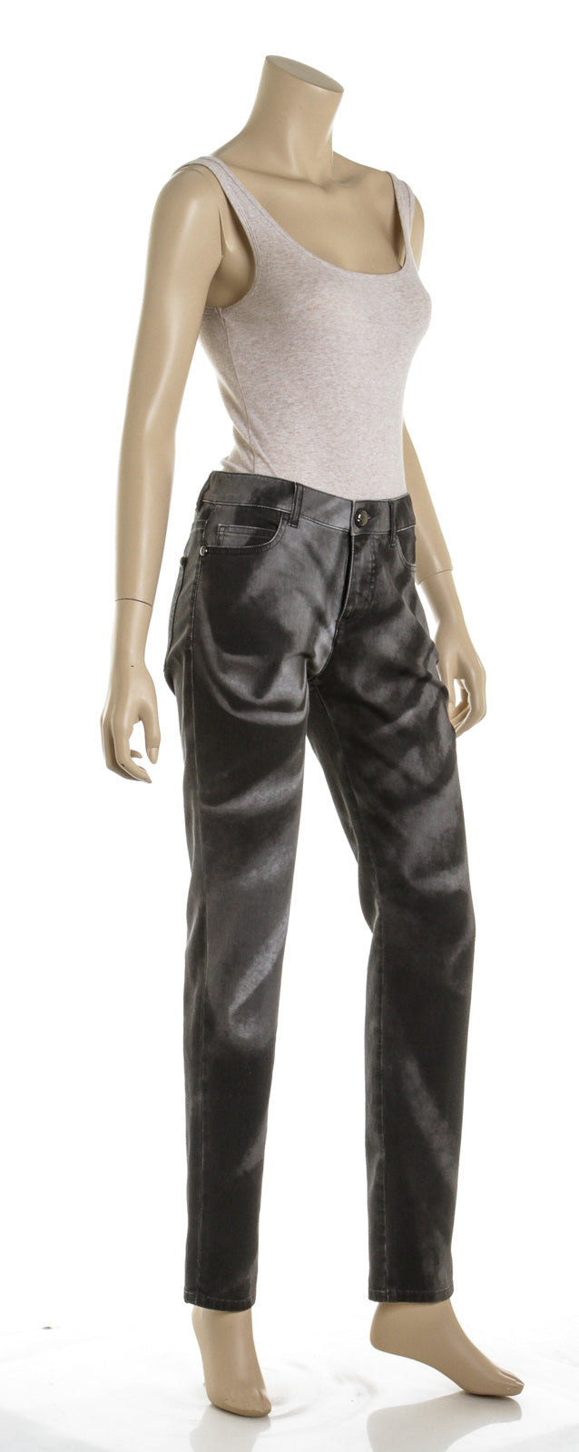 Chanel Black Cotton Twill White Washed Jeans (Size 38)