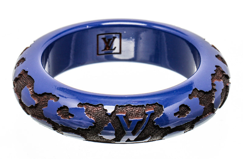 Louis Vuitton Blue Resin with Wood Inlay Bangle