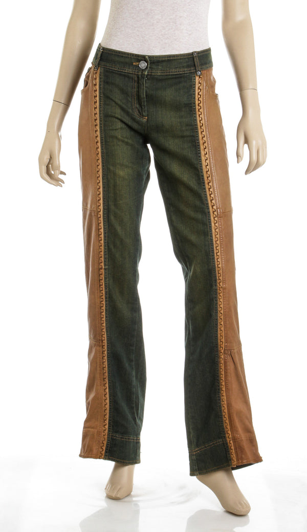 Christian Dior Blue Washed Denim and Brown Leather Jeans (N/S)