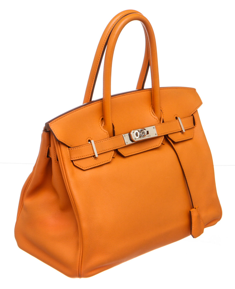 Hermes Orange Swift Leather Birkin 30cm Bag PHW