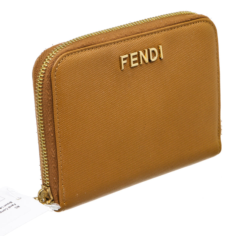 Fendi Tan Leather Compact Zippy Wallet
