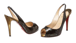 Christian Louboutin Blue Multicolor Patent Slingback Shoes (Size 38)