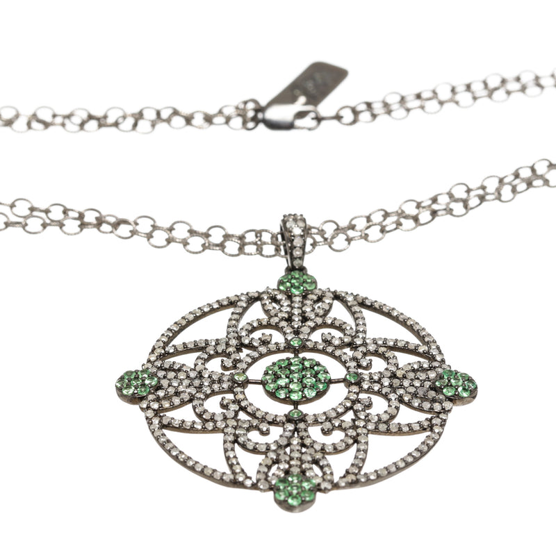 Julia Post Sterling Silver Diamond and Emerald Pendant Necklace
