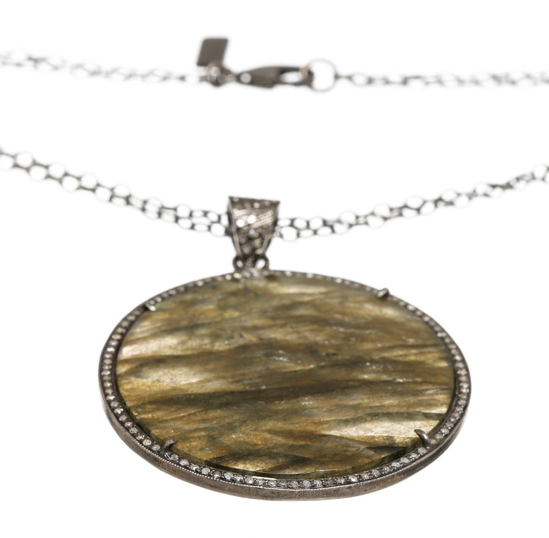 Julia Post Sterling Silver Diamond Trim Pendant Necklace