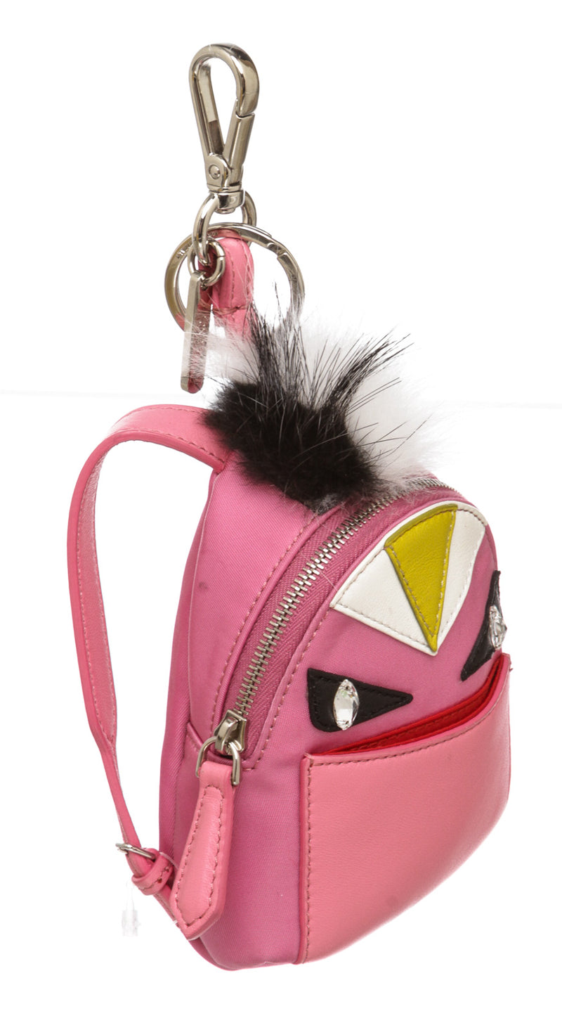 Fendi Pink Nylon and Leather Monster Backpack Charm