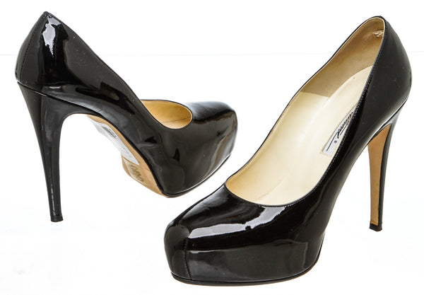 Brian Atwood Black Patent Leather Platform Pumps (Size 38.5)