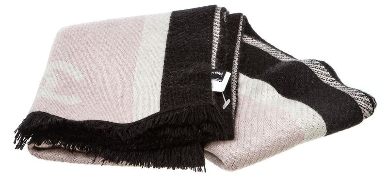 "Chanel Pink Multicolor Cashmere ""Coco Neige"" Scarf"