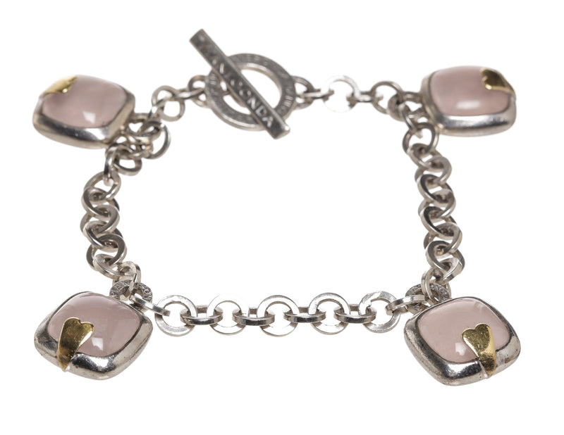 Pianegonda Sterling Silver and Rose Quartz Bracelet