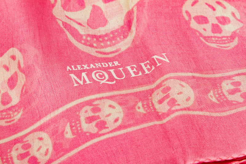 Alexander McQueen Pink and Cream Silk Skull Scarf