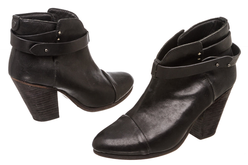 Rag & Bone Black Leather Harrow Booties (Size 39.5)