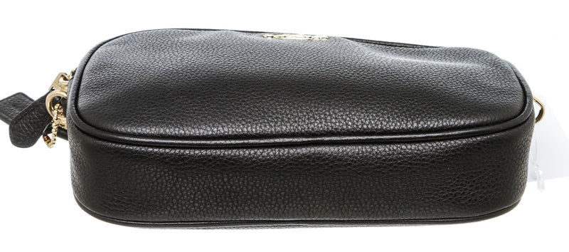 Coach Black Pebbled Leather Double Zip Camera Bag