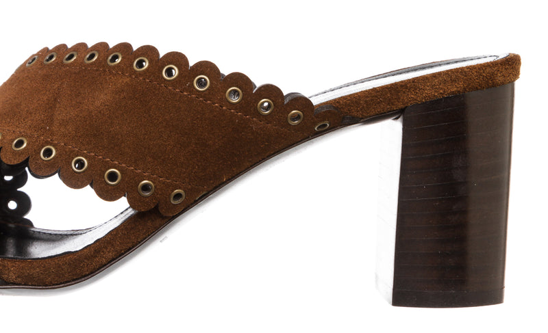 Saint Laurent Brown Suede Loulou Sandals with Eyelets (Size 36.5)