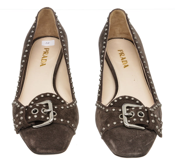 Prada Gray Suede Studded Pumps (Size 38)