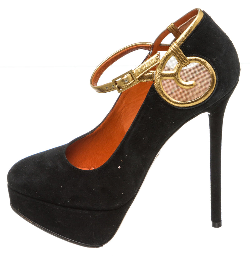 Charlotte Olympia Black Suede Sabrina Metallic Leather-Trimmed Pumps (Size 35)