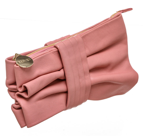 Valentino Pink Leather Bow Clutch Bag