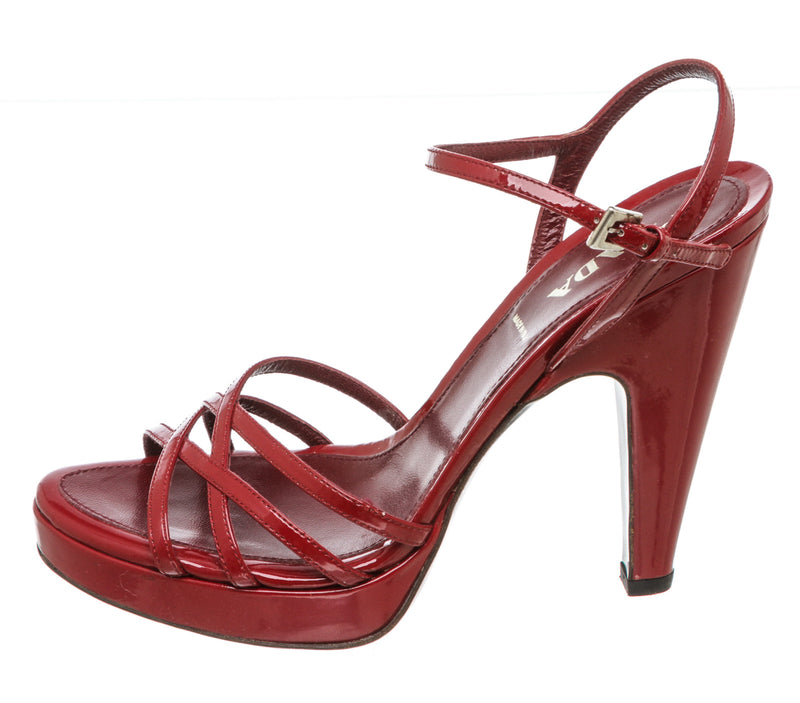 Prada Red Patent Leather Strappy Sandals (Size 37.5)