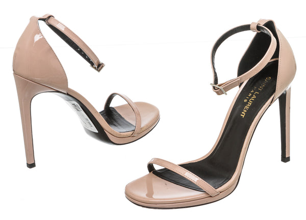 Saint Laurent Blush Patent Leather 'Jane' Sandals (Size 38)