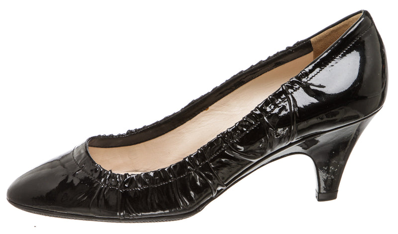 Prada Black Patent Leather Ruched Pumps (Size 37.5)