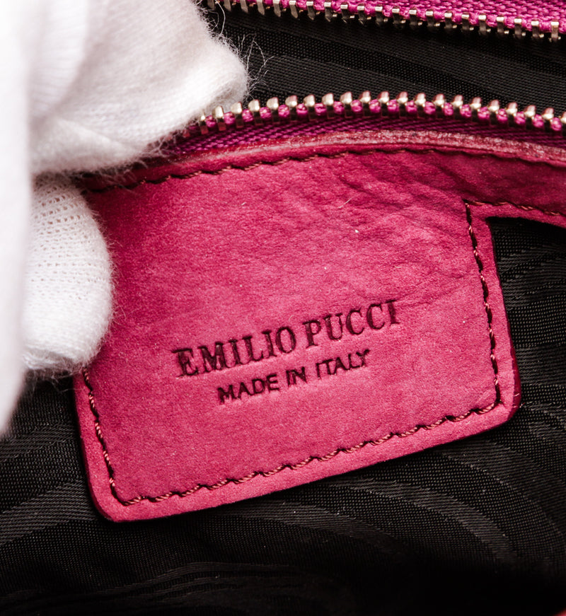 Emilio Pucci Magenta Stamped Leather Marquise Flap Shoulder Bag
