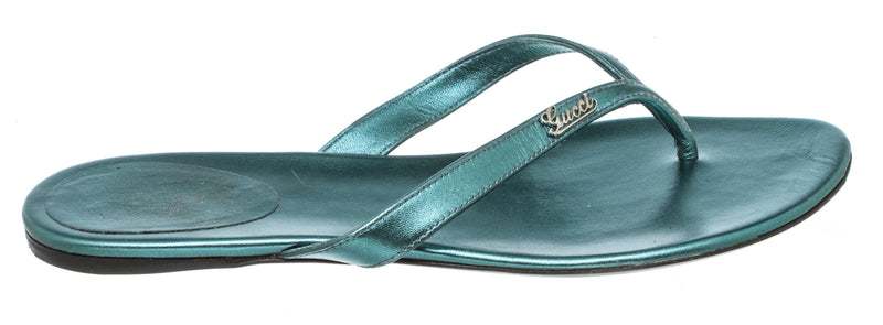Gucci Metallic Turquoise Blue Thong Flat Sandals (Size 39)