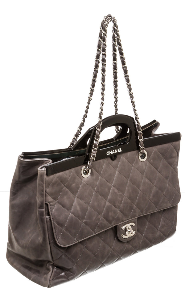 Chanel Gray Calfskin Leather Large Shopping 15B Bag