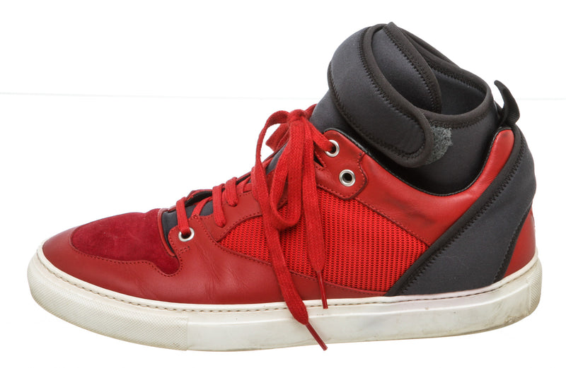Balenciaga Red Multimaterial Neoprene High-Top Sneakers  (Size 41)