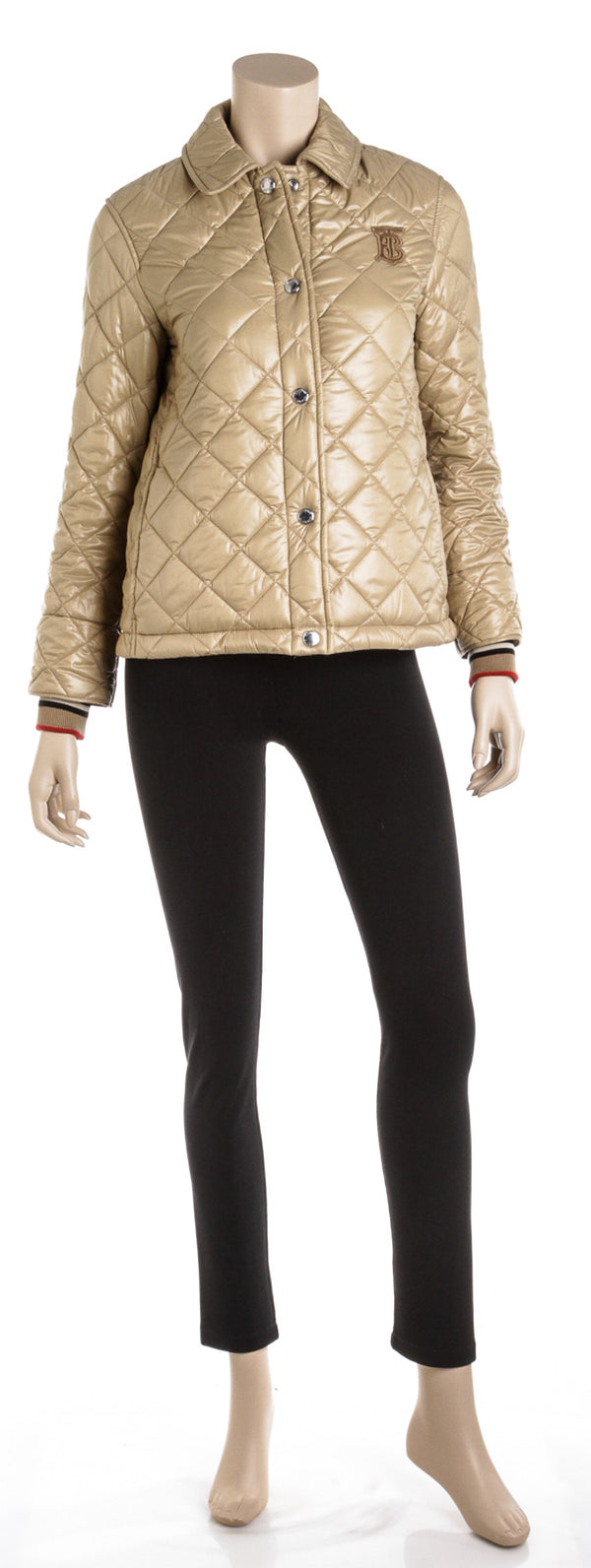 Burberry Honey Heathfield Frinton Knit Cuff Quilted Jacket (Size XS)