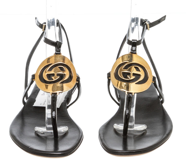 Gucci Black Patent Ankle Wrap Thong Sandals (Size 37)