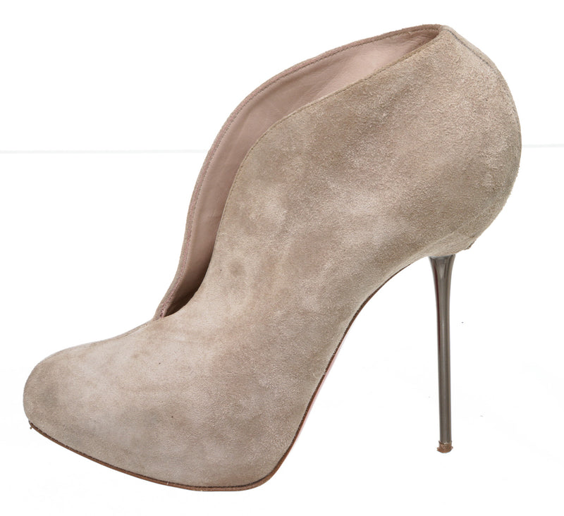 Christian Louboutin Beige Fastissima Misty Velours Bootie (Size 39.5)