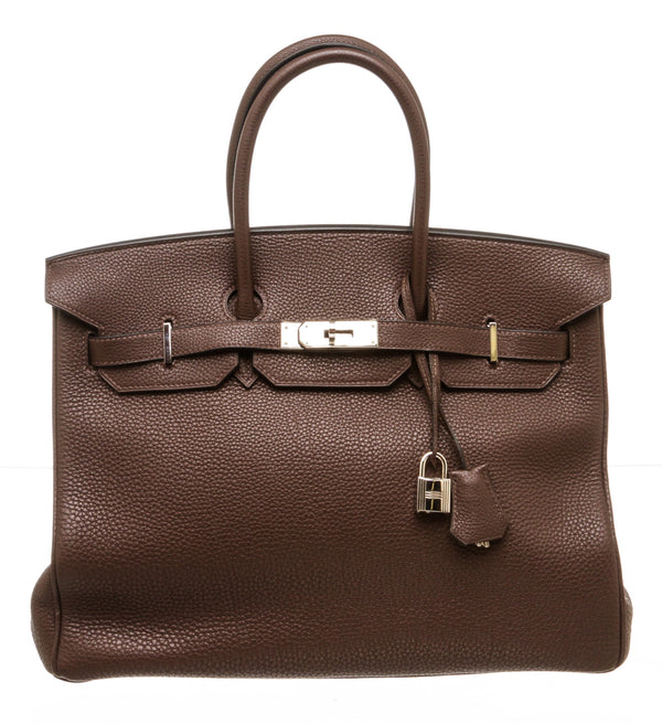 Hermes Chocolate Fonce Togo Leather Birkin 35cm Bag PHW