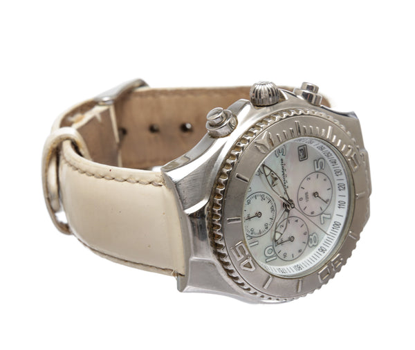 TechnoMarine Stainless Steel Cream Patent Leather Mother of Pearl Face Interchangeable Band Watch