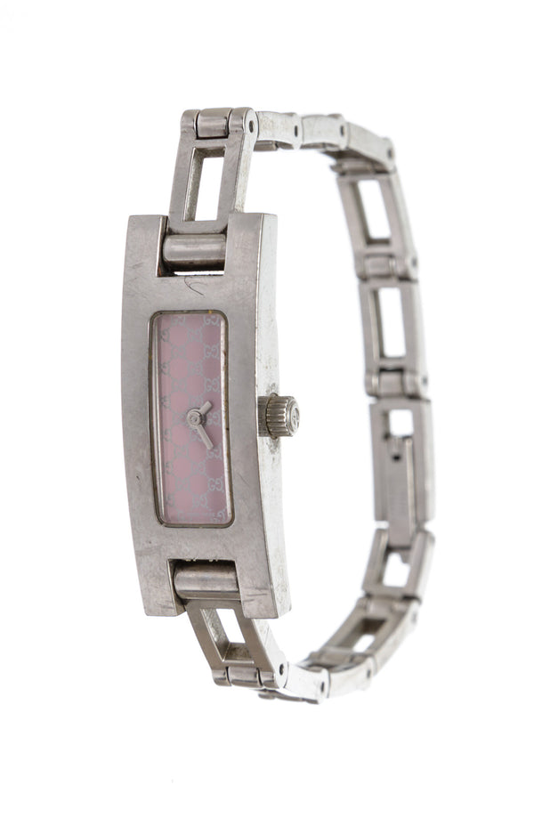 Gucci Stainless Steel Pink GG Face Band Watch