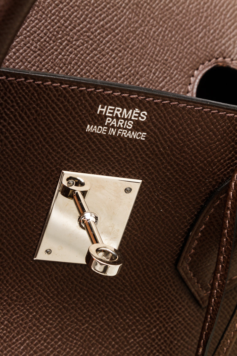 Hermes Ebene Epsom Leather Birkin 35cm Bag PHW