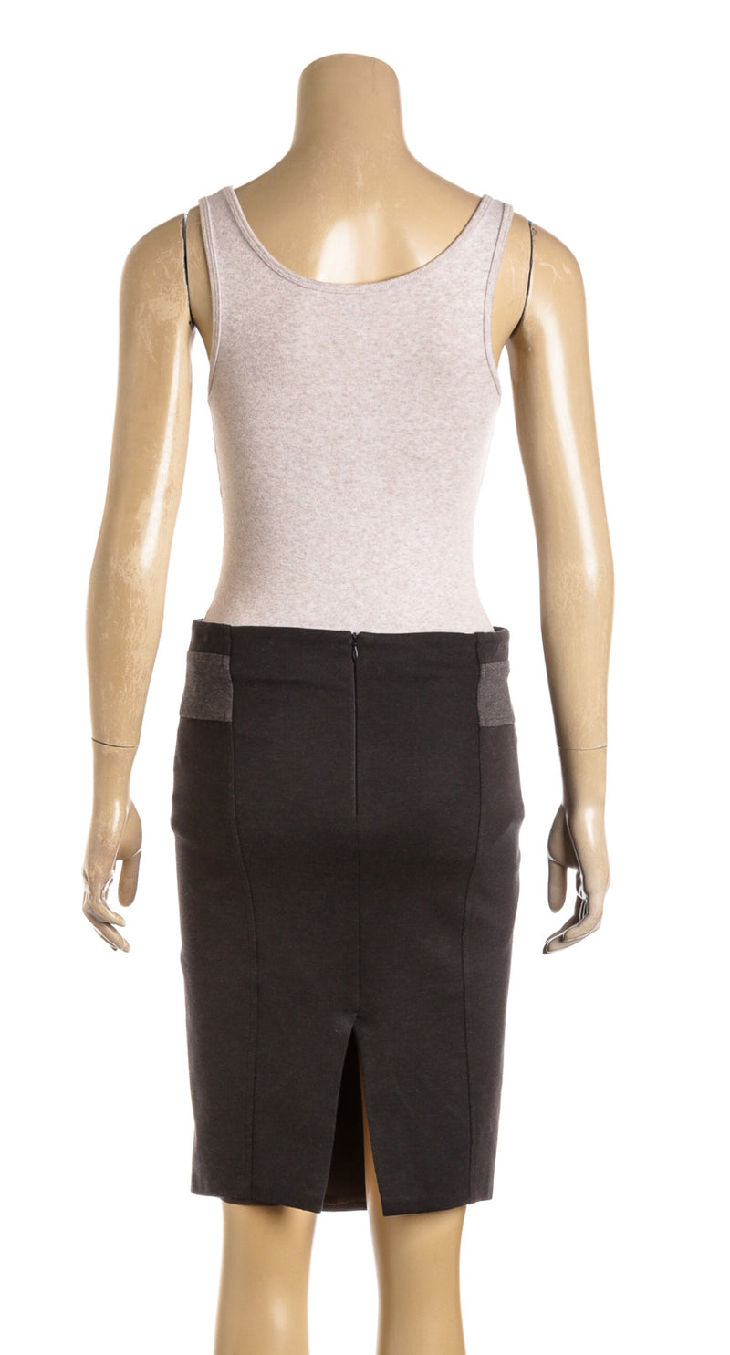 Brunello Cucinelli Gray Cotton Pencil Skirt (Size 4)