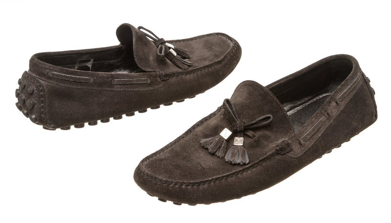 Louis Vuitton Gray Suede Men's Moccasins (Size 38)