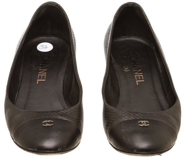 Chanel Black Leather Cap Toe Pump (Size 37)