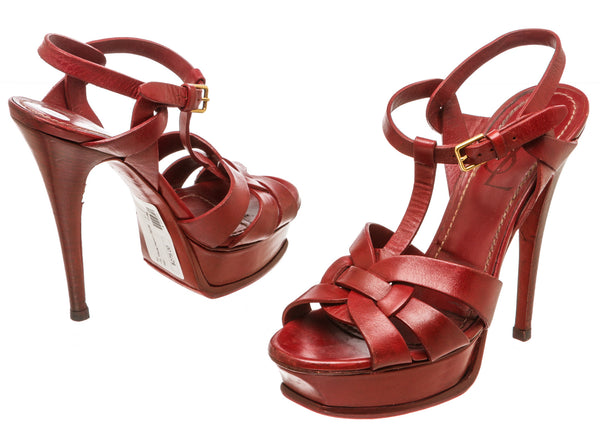 Yves Saint Laurent Red Leather Tribute Platform Sandals (Size 37)