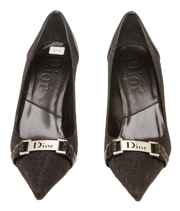 Christian Dior Black Monogram Trotter Pointed Toe Pump (Size 37.5)