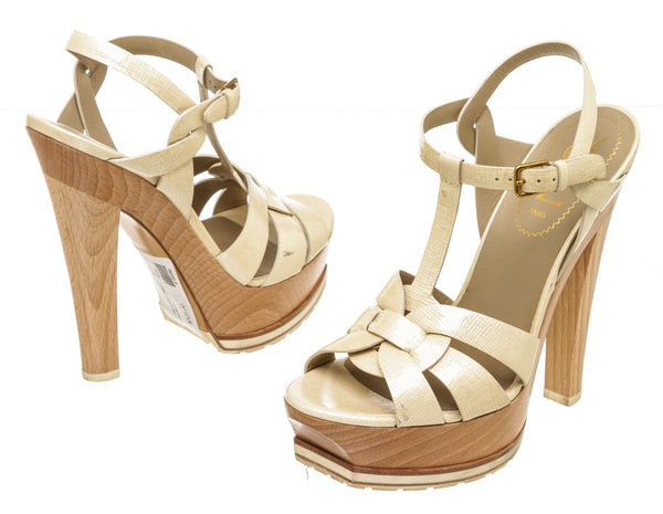 Yves Saint Laurent Pearl Patent and Wood Tribute Sandals (Size 37)